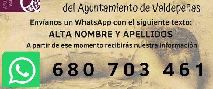 La concejalía de Cultura de Valdepeñas habilita un servicio de información vía WhatsApp