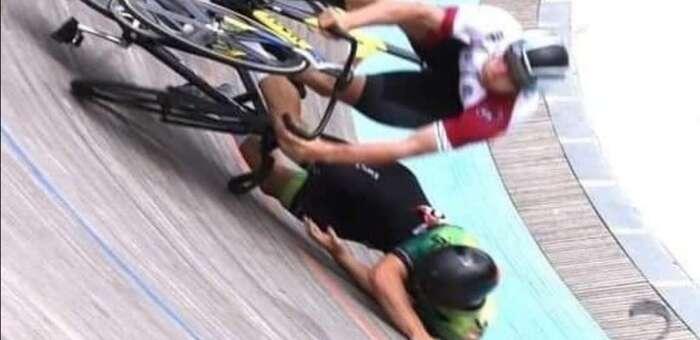 Grave lesión del pistard manchego Pepe Moreno en el Internacional Ciudad de Barcelona