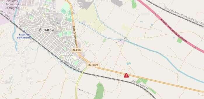 Una persona fallecida y otra herida tras salirse un turismo de la vía en Almansa (Albacete)