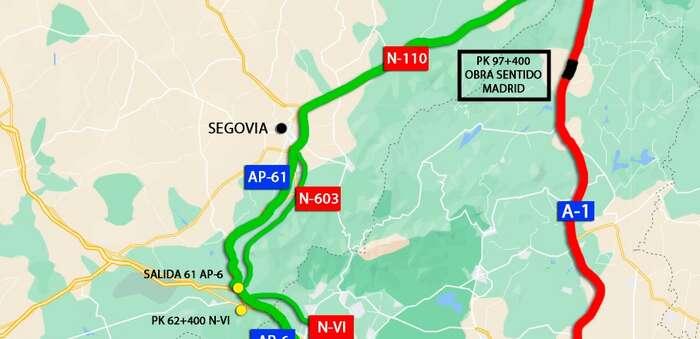 Afecciones al tráfico por el corte de carriles a la altura del Puerto de Somosierra (A-1) sentido Madrid