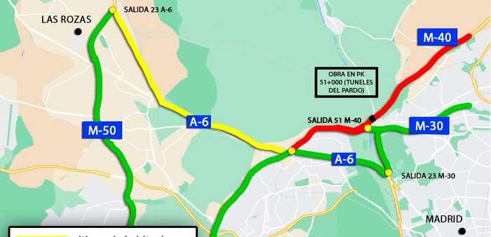 Reducción de carriles en la M-40 creciente a la altura de los túneles del Pardo por reparación del viaducto