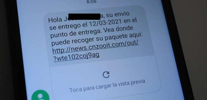 La Policía Local de Valdepeñas alerta de la estafa 'paquete no entregado' por SMS