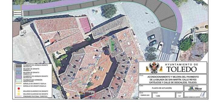 La renovación en Toledo de la Bajada de San Martín y Reyes Católicos mejorará la accesibilidad y el entorno medioambiental del Tránsito