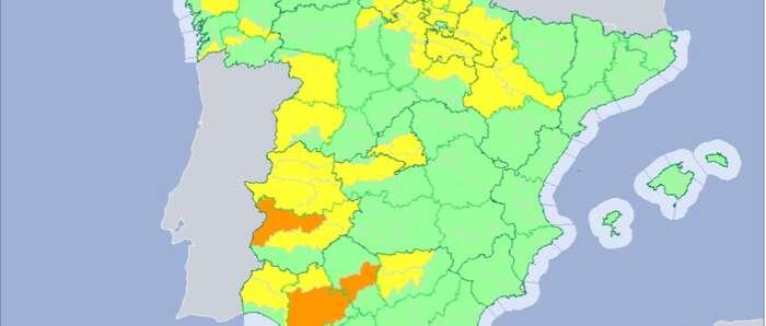 Protección Civil y Emergencias alerta por altas temperaturas en el oeste peninsular y por tormentas en la Cordillera Cantábrica y norte de la Ibérica