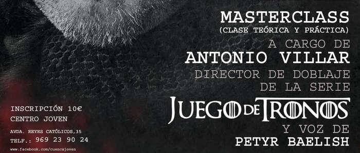 El director de doblaje de la serie 'Juego de Tronos' impartirá una Masterclass en la Escuela Municipal de Cine