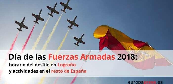 Un caza 'Eurofighter' del Ala 14 Albacete, en el desfile aéreo del Día de las Fuerzas Armadas de este sábado en Logroño