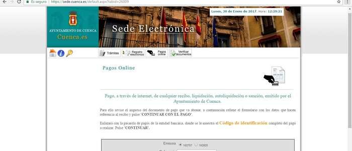 Disponible a través de la Web municipal el pago de cualquier tipo de recibo emitido por el Ayuntamiento de Cuenca