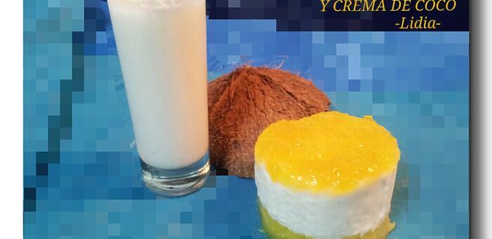 En OBJETIVO DELICIOSO filetes de sardinas con salsa romesco y semifrío de piña con mermelada de mango y crema de coco